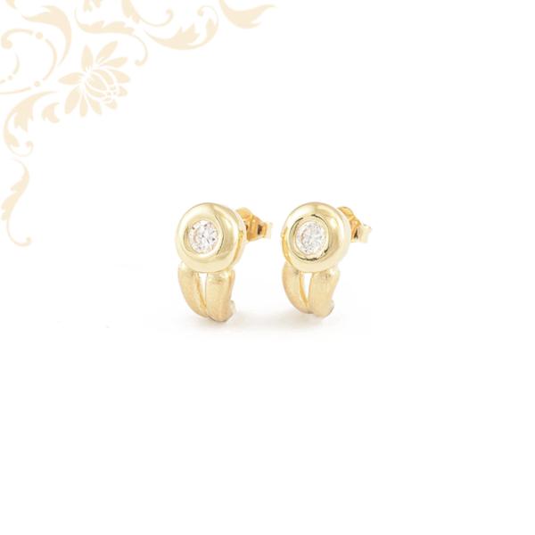 Elegáns, cirkónia köves női arany fülbevaló