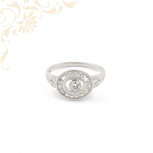 Szintetikus kövekkel ékesített fehérarany női köves arany gyűrű
