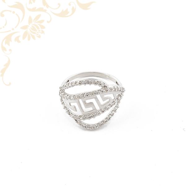 Görög mintás, cirkónia köves női arany gyűrű.
