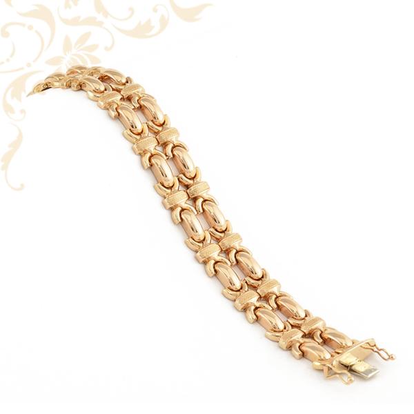 Széles, duplasoros, gyémántvésett mintával díszített női arany karkötő