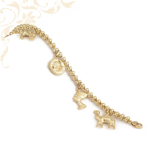 Üreges zsuzsukkal díszített, női arany karkötő.