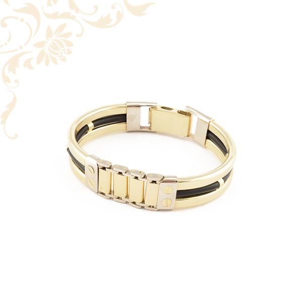 Arany és kaucsuk kombinációjával készült, merev arany karkötő