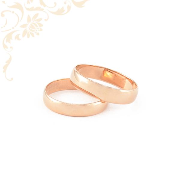 Arany karikagyűrű pár, 14 karátos rozé (vörös) aranyból