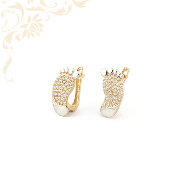 Talp alakú arany fülbevaló, ródium bevonattal díszítve