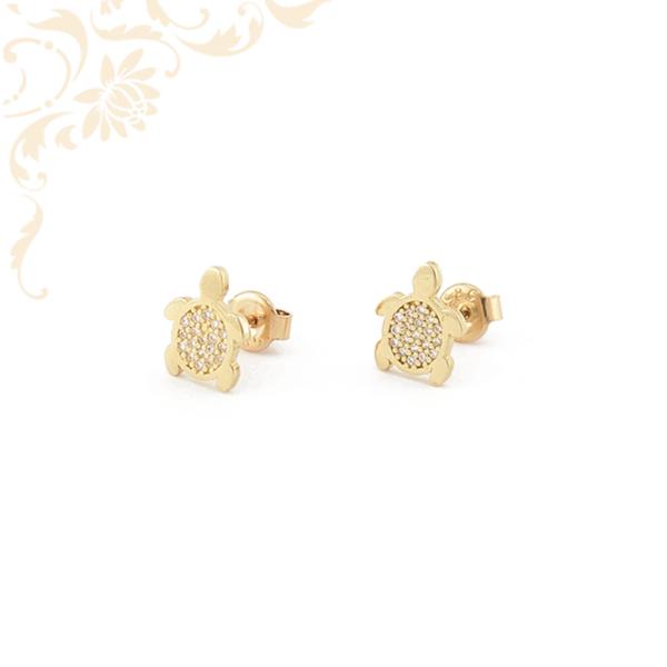 Teknősbéka formájú, csillogó fehér színű cirkónia kövekkel díszített, köves arany fülbevaló.