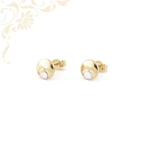 Nagyon mutatós és szép, stekkeres záródású arany fülbevaló, ródium bevonattal díszítve.