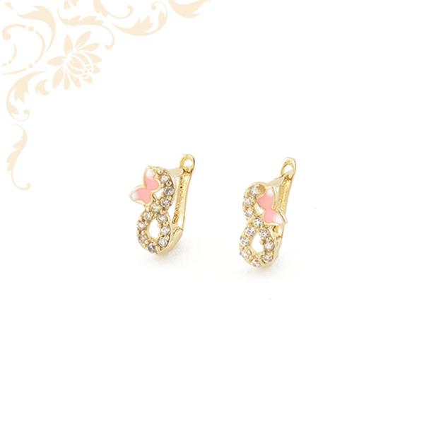 Pillangós gyermek arany fülbevaló, fehér színű cirkónia kövekkel és színes festett réteggel díszítve.