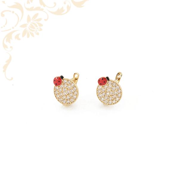Katicás, fehér színű cirkónia kövekkel díszített, gyermek arany fülbevaló