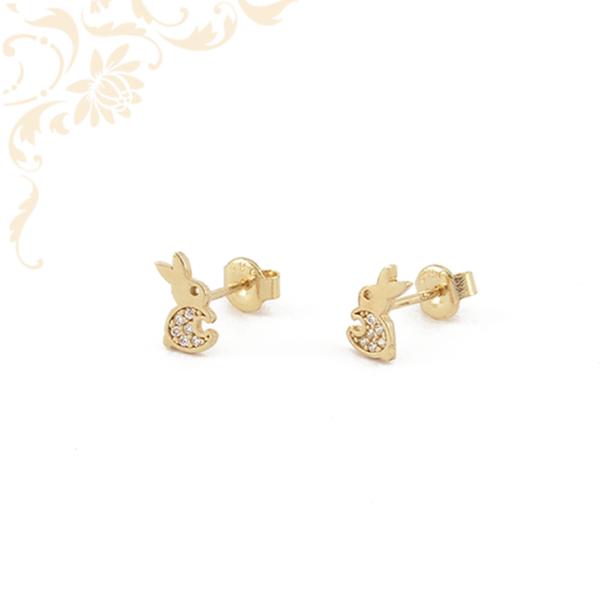 Nyuszi formájú arany fülbevaló, fehér színű cirkónia kövekkel díszítve