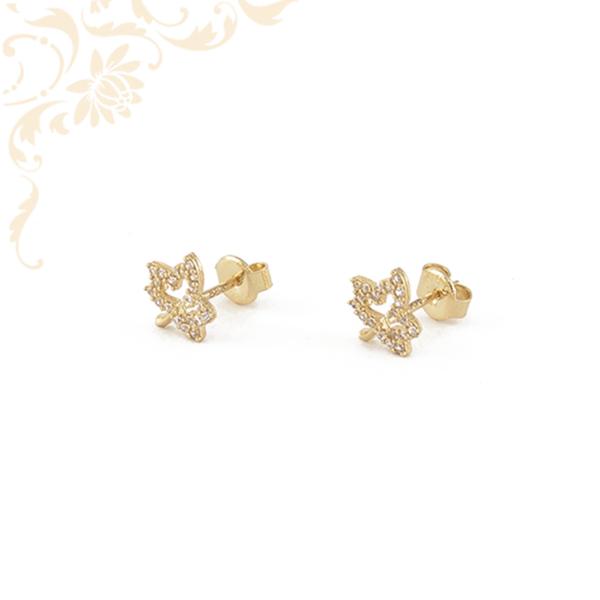 Áttört, falevél formájú arany fülbevaló, fehér színű cirkónia kövekkel díszítve.