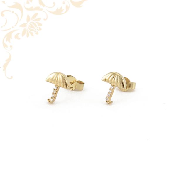 Esernyő formájú, fehér színű cirkónia kövekkel díszített arany fülbevaló