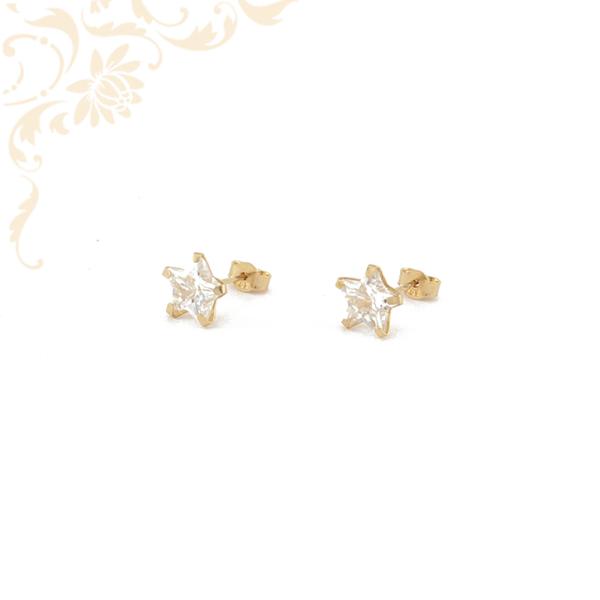 Csillag formájú arany fülbevaló, fehér színű cikrónia kővel díszítve