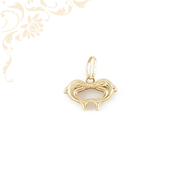 Delfinpárt ábrázoló, üreges arany medál