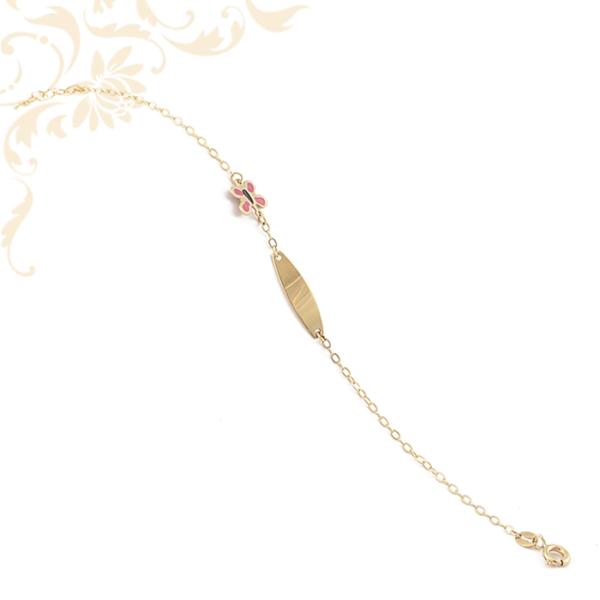 Színes lakkbevonatos pillangóval díszített gyermek lapbetétes arany karlánc