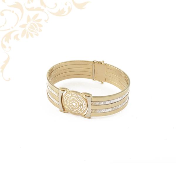 Nagyon szép és mutatós női arany karreif karkötő, gyémántvésett mintával és ródium bevonattal díszítve