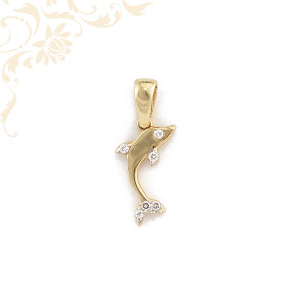 Delfin arany medál cirkónia kővel